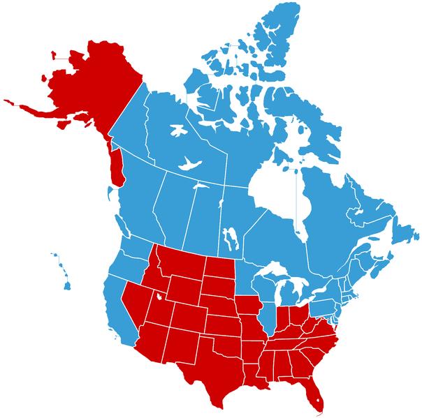 Em azul Estados Unidos do Canadá e em vermelho Jesusland
