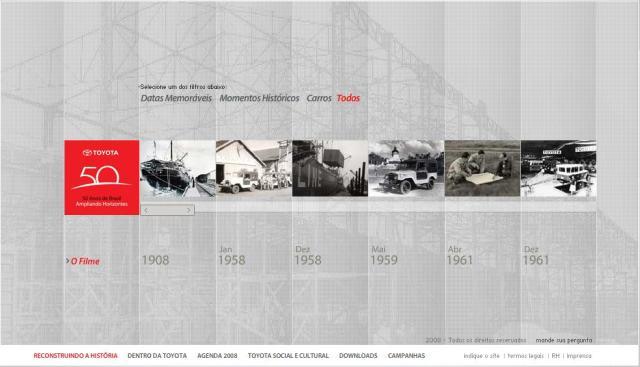 Site em comemoração aos 50 anos da Toyota