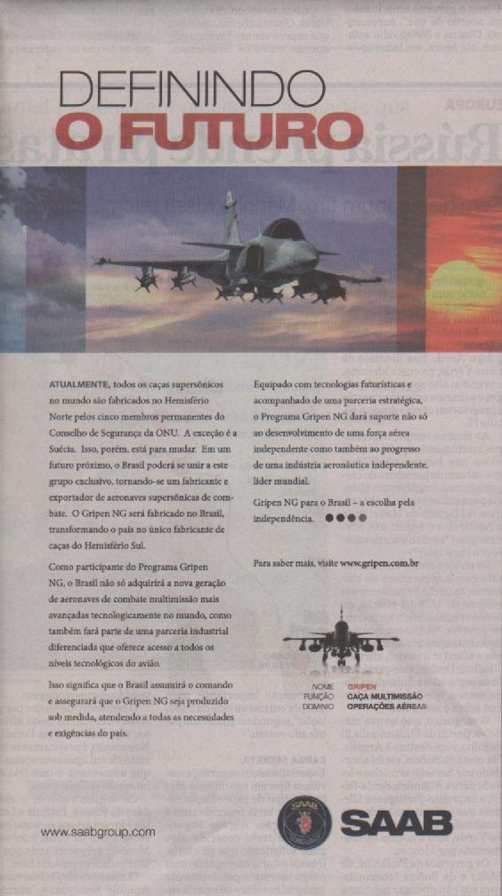 Reprodução do anúncio do Saab Gripen NG no jornal O Estado de S. Paulo do dia 19/09/2009