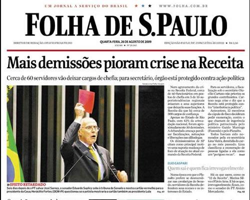 Reprodução da capa da Folha de São Paulo de 26/08/2009 com Suplicy mostrando Cartão Vermelho para Sarney