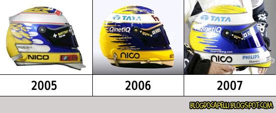 Evolução do capacete de Nico Rosberg. Falta o desse ano.