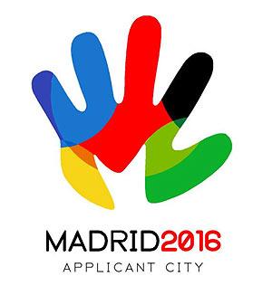 Logo da candidatura de Madrid 2016. O slogan é Olá Todos.