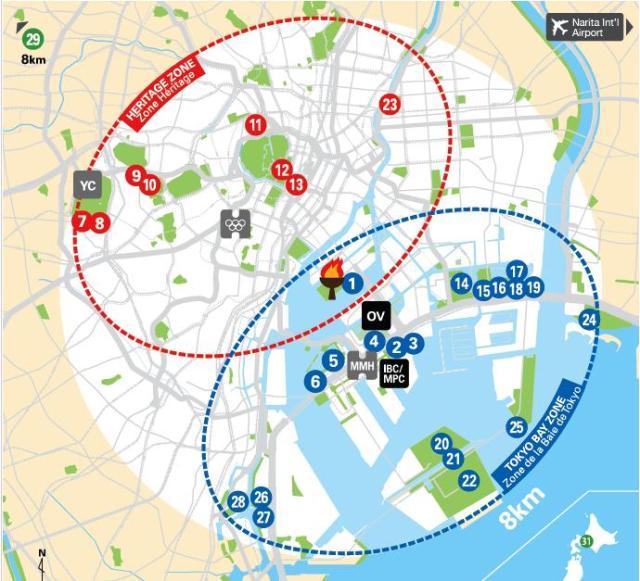 Mapa das instalações de Tóquio e as duas zonas olímpicas